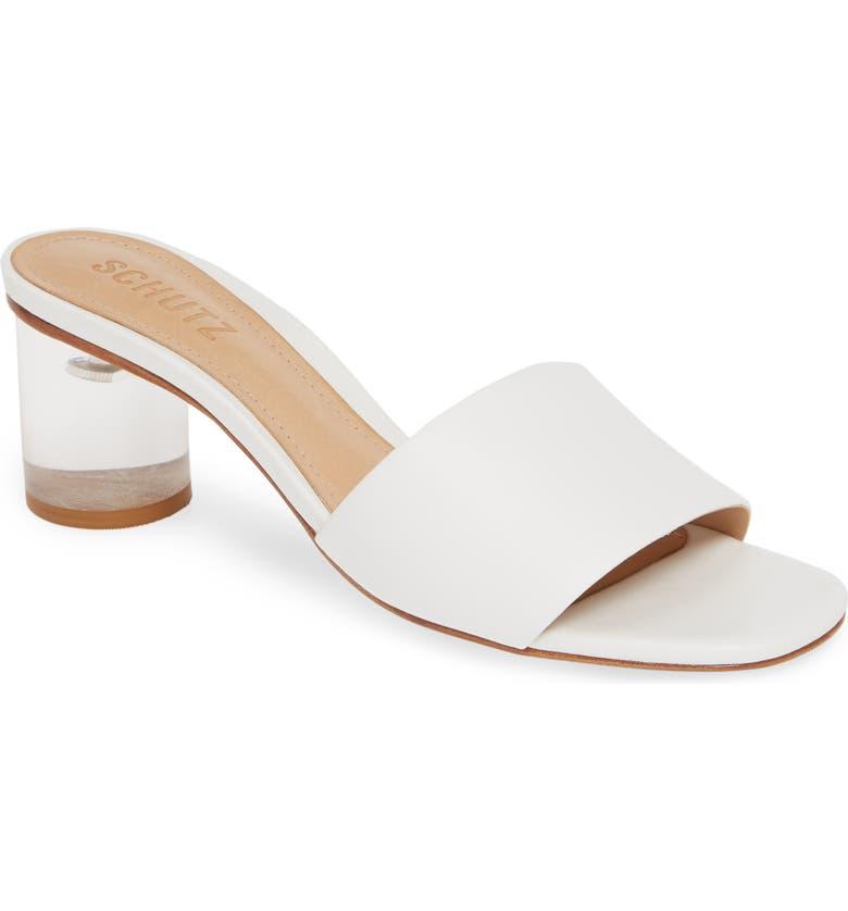 SCHUTZ Mirlande Clear Heel Slide Sandal, Main, color, WHITE LEATHER