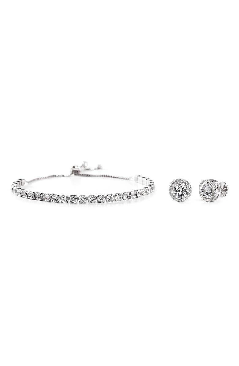 LESA MICHELE Swarovski Crystal Bracelet & Earrings Set, Main, color, SILVER