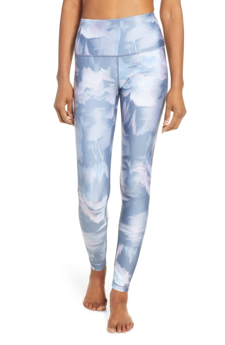 67b7fb2762903 Print Slick High Waist Leggings, Main, color, BLUE VINTAGE FLORAL STATIC PRI