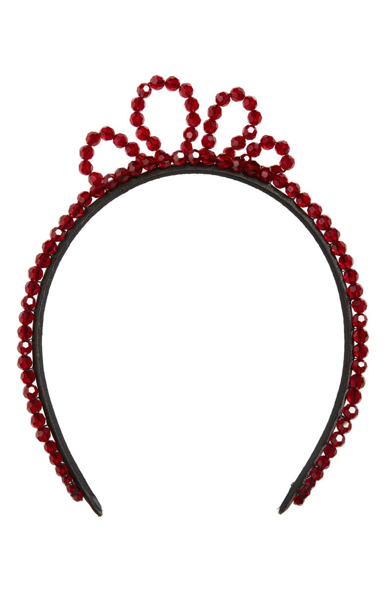 SIMONE ROCHA Wiggle Crystal Tiara, Main, color, BLOOD RED