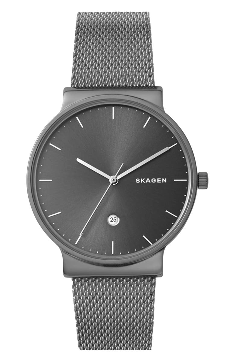 SKAGEN Ancher Mesh Strap Watch, 40mm, Main, color, 020