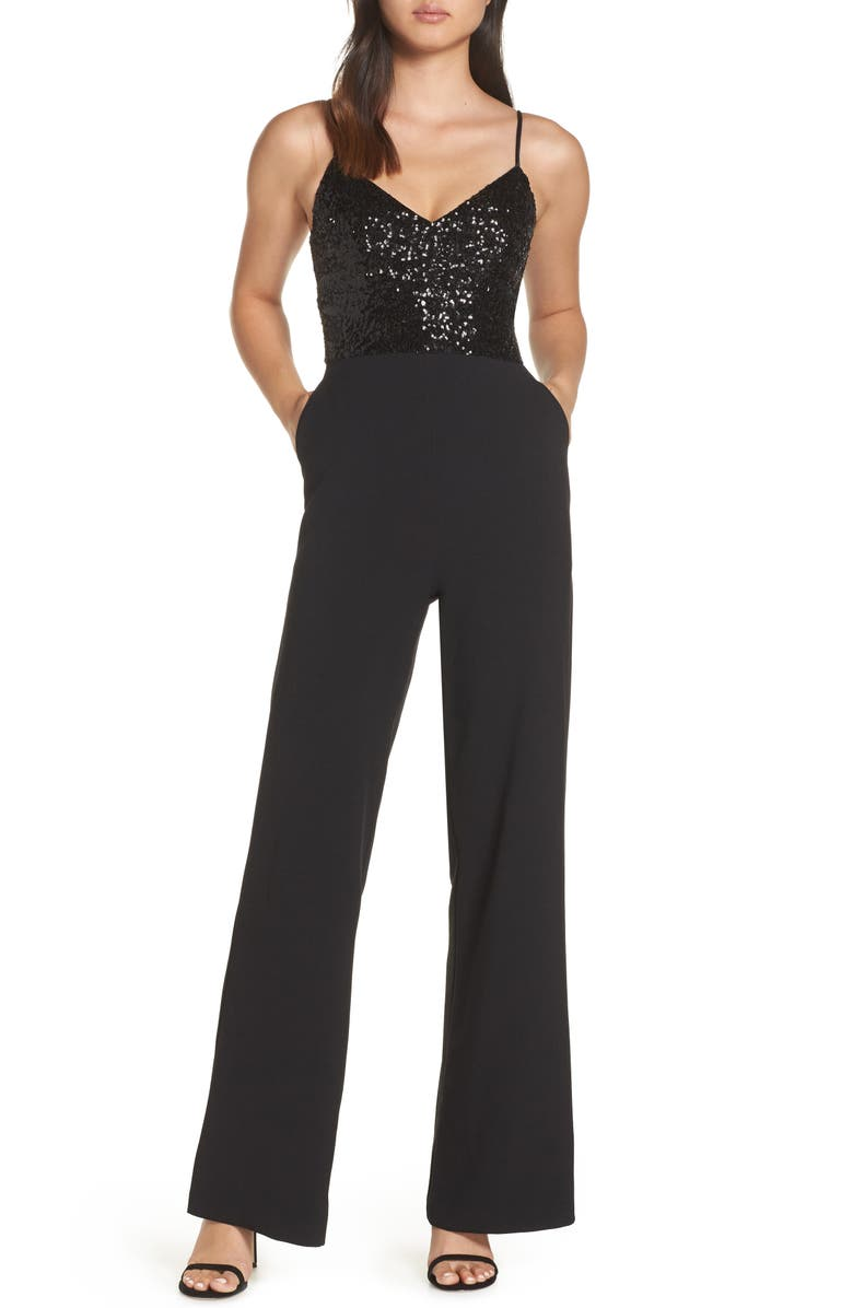 ELIZA J Sequin Embellished Jumpsuit, Main, color, BLACK