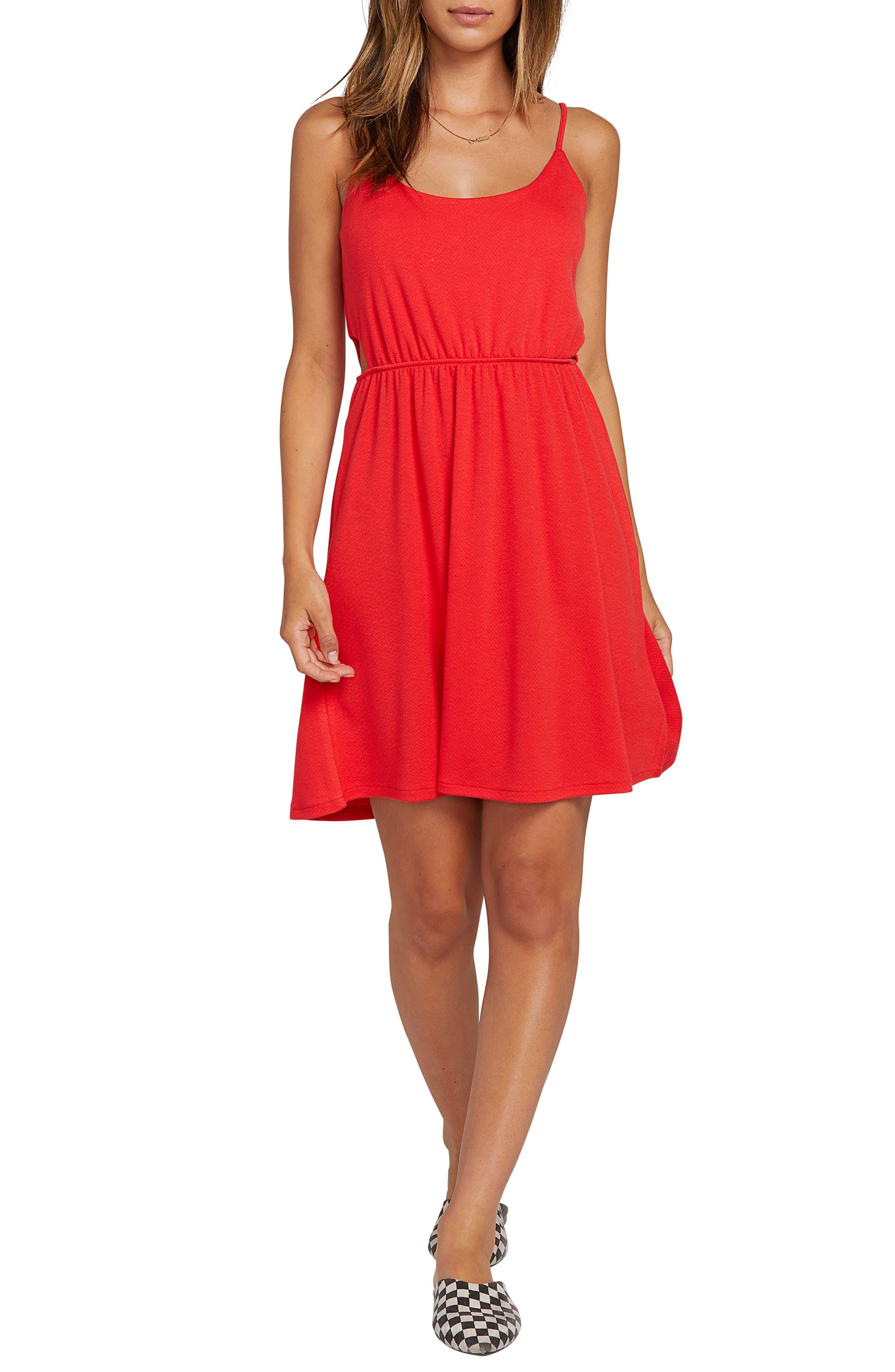 Plus Size Volcom Le Fresh Cutout Minidress, Red