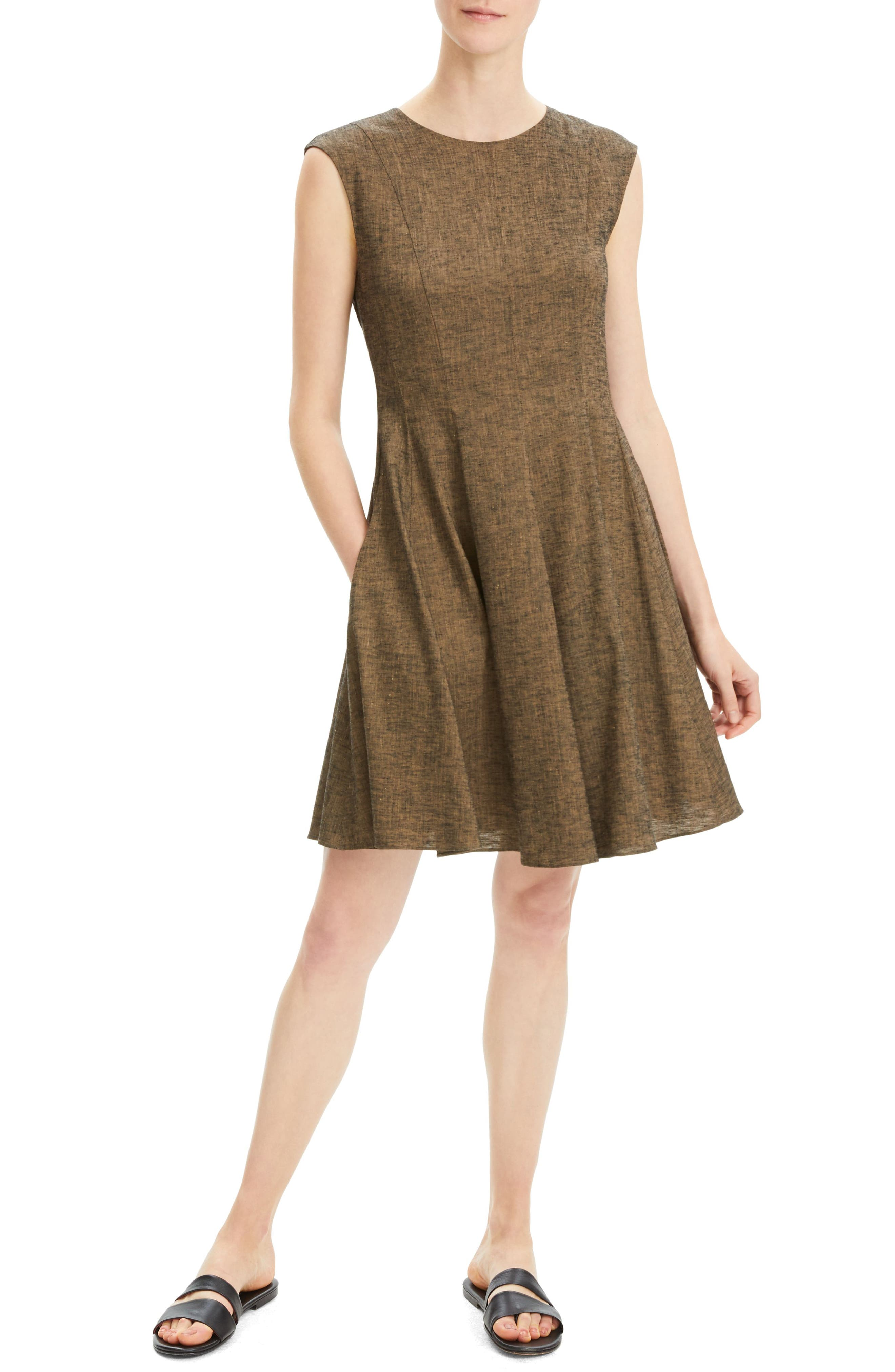 Theory Textured Fit & Flare Linen Blend Dress, Brown