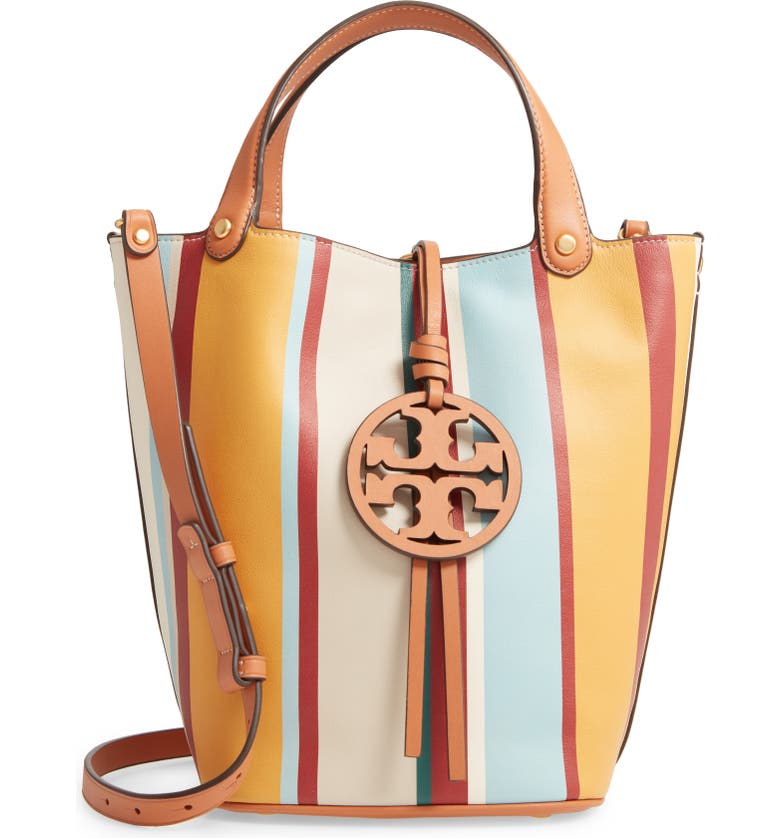 TORY BURCH Miller Stripe Bucket Bag, Main, color, MILLER STRIPE