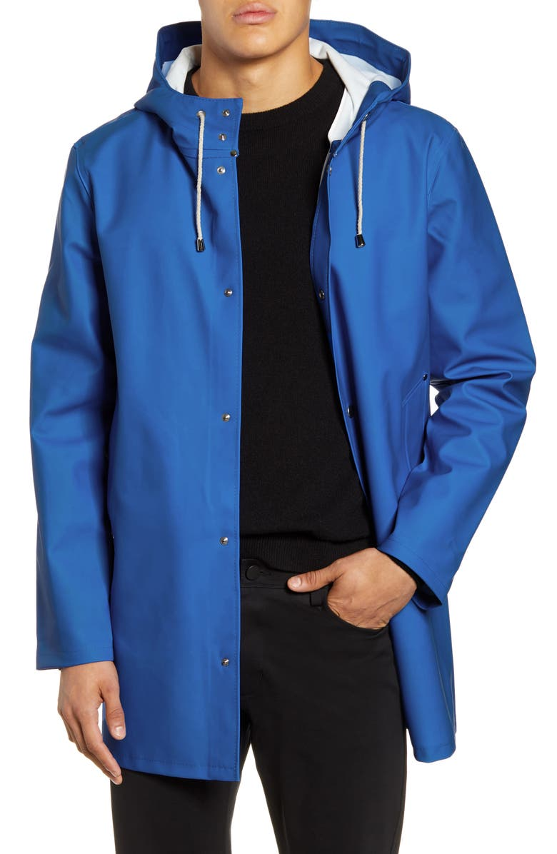 STUTTERHEIM Stockholm Waterproof Hooded Raincoat, Main, color, ELECTRIC BLUE