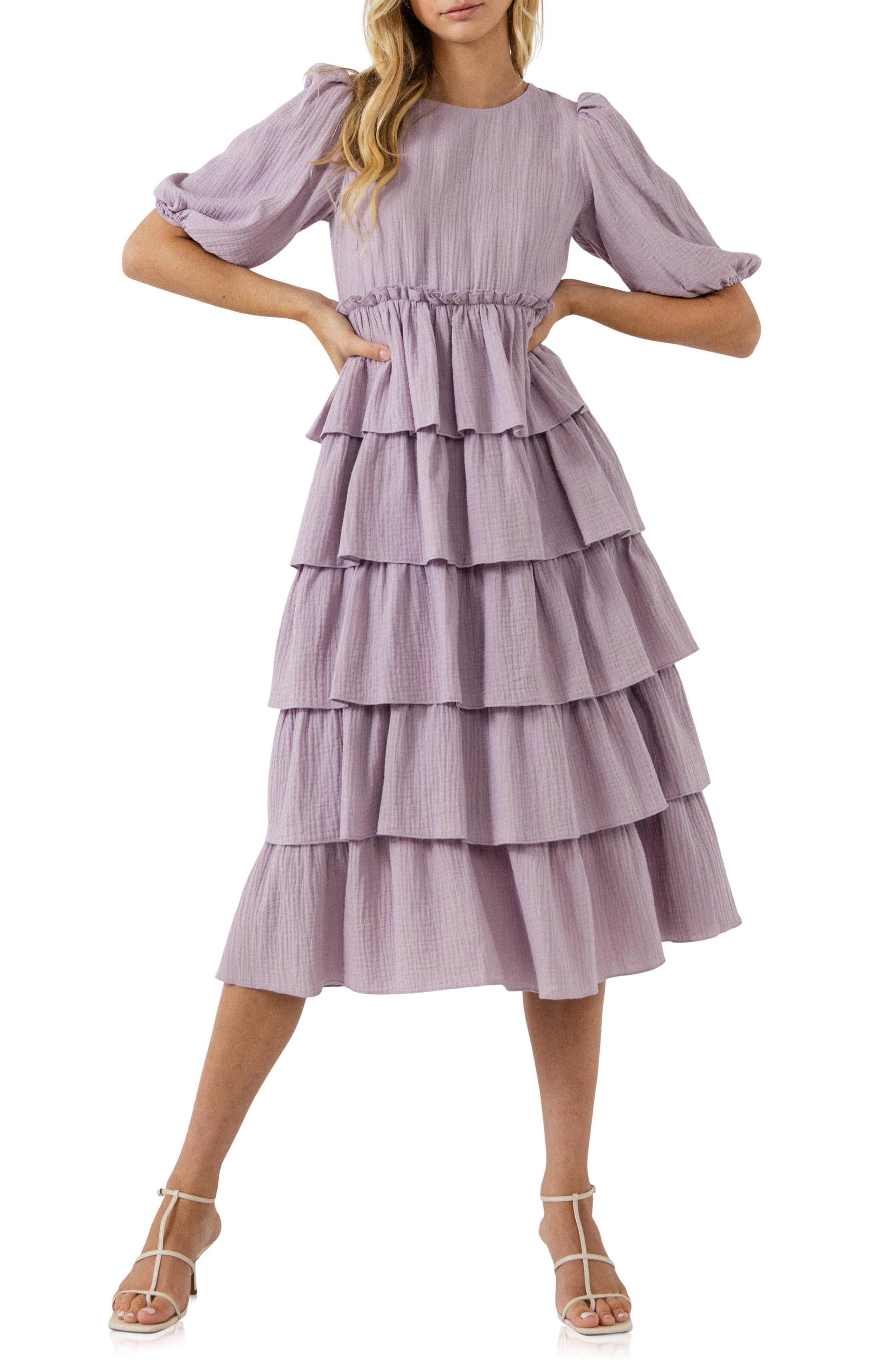 Tiered Ruffle Crinkled Cotton Dress