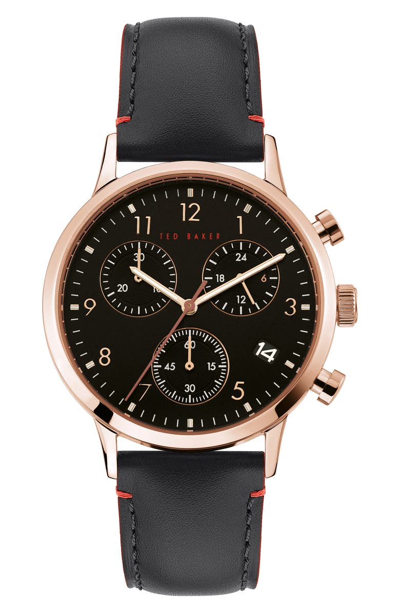 TED BAKER LONDON Cosmop Chronograph Leather Strap Watch, 40mm, Main, color, 001