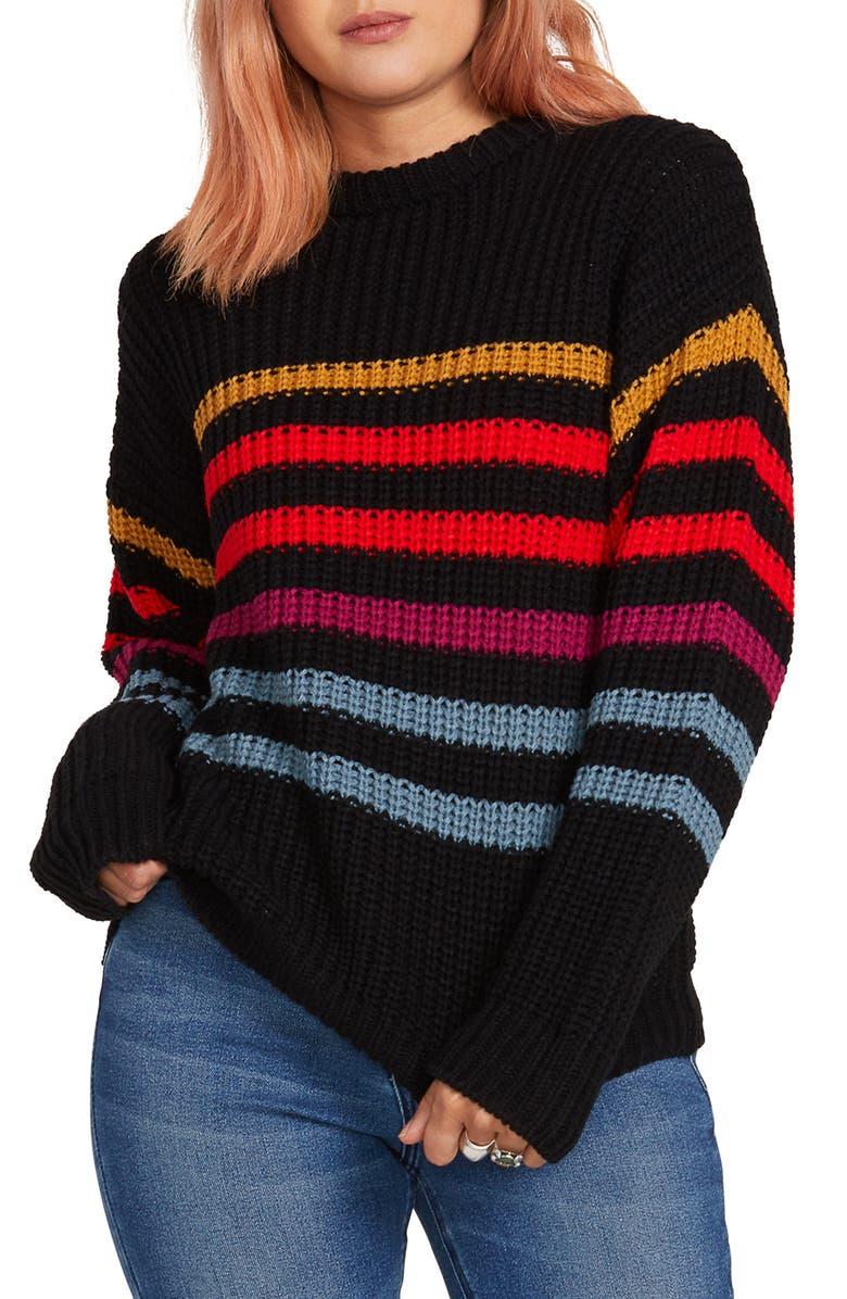 VOLCOM Move On Up Stripe Sweater, Main, color, BLACK