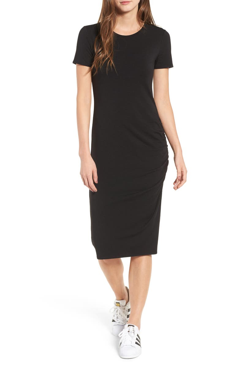 TREASURE & BOND Side Ruched Body-Con Dress, Main, color, BLACK