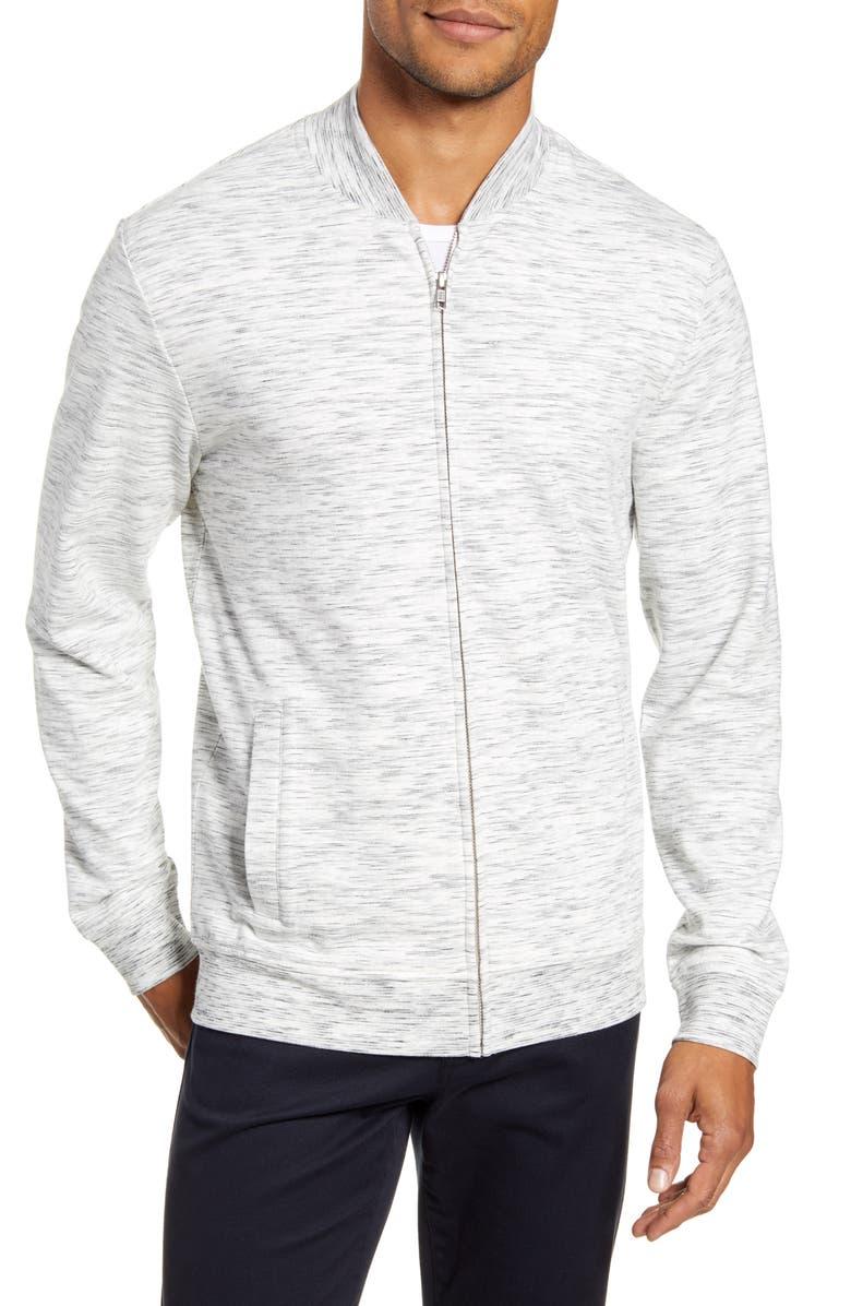CALIBRATE Space Dye Zip Sweatshirt, Main, color, GREY LIGHT HEATHER