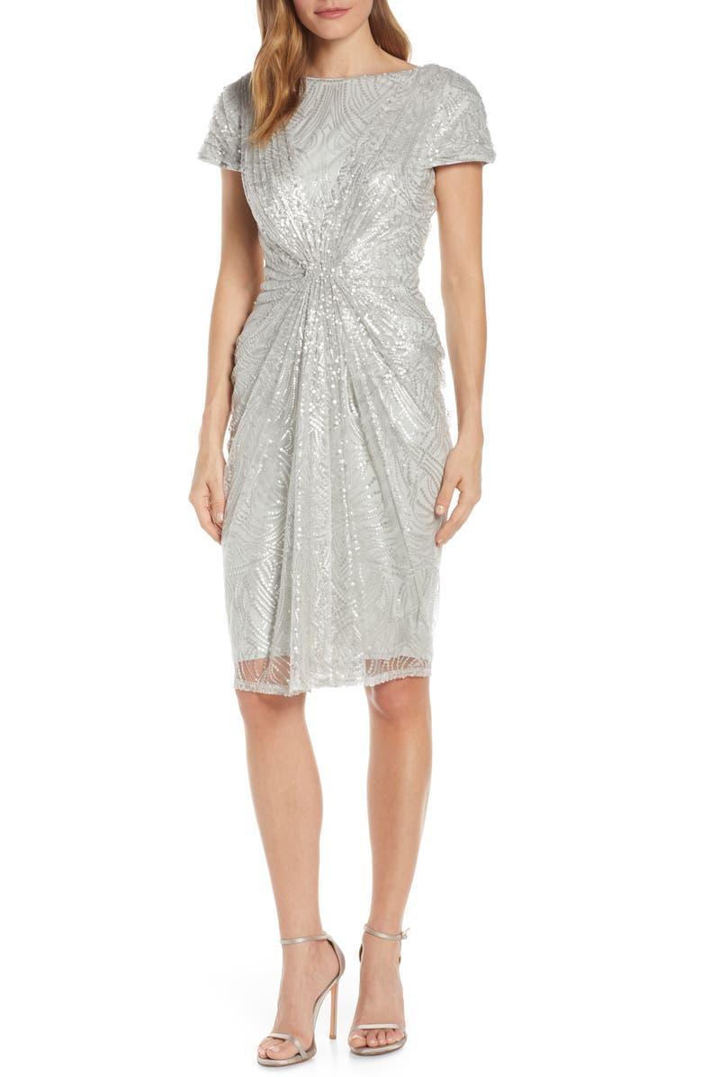 TADASHI SHOJI Sequin Embellished Sheath Dress, Main, color, 040
