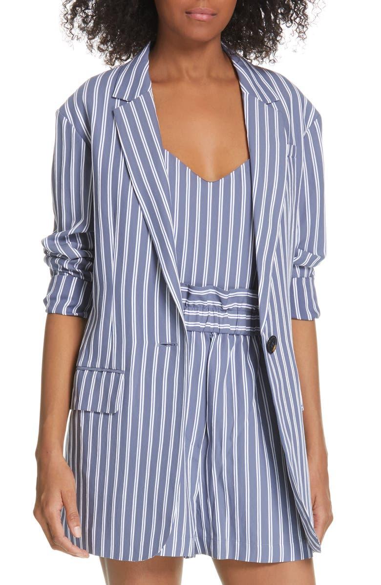 TIBI Stripe Oversize Twill Blazer, Main, color, DUSTY BLUE MULTI