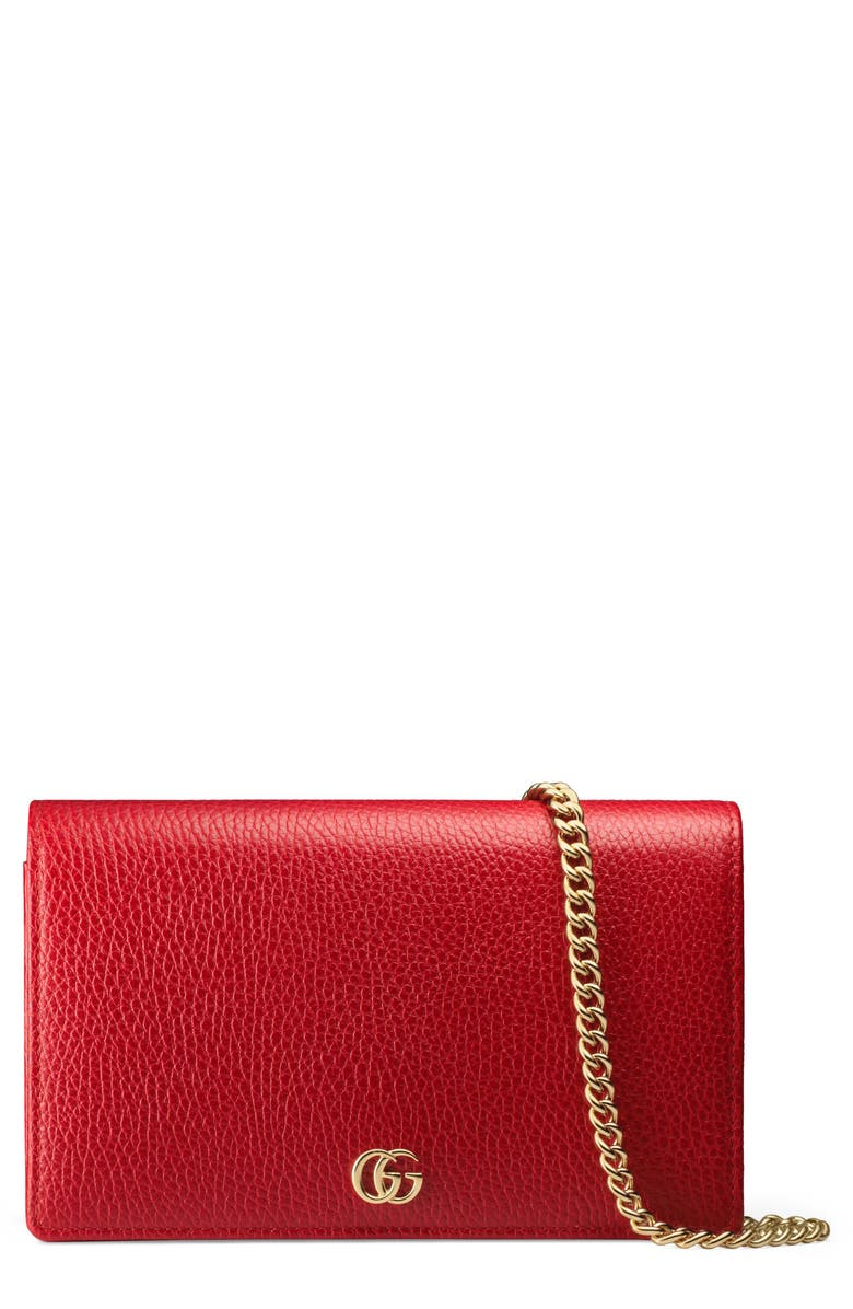 GUCCI Petite Leather Wallet on a Chain, Main, color, HIBISCUS RED