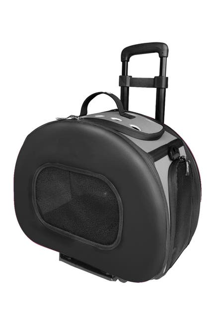 Image of Pet Life Black Tough-Shell Wheeled Collapsible Final Destination Pet Carrier