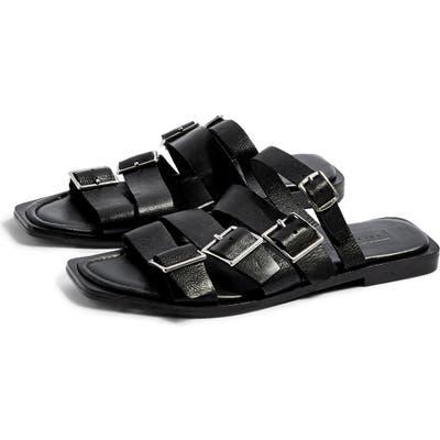 Topshop Felix Strappy Buckle Slide Sandal - Black