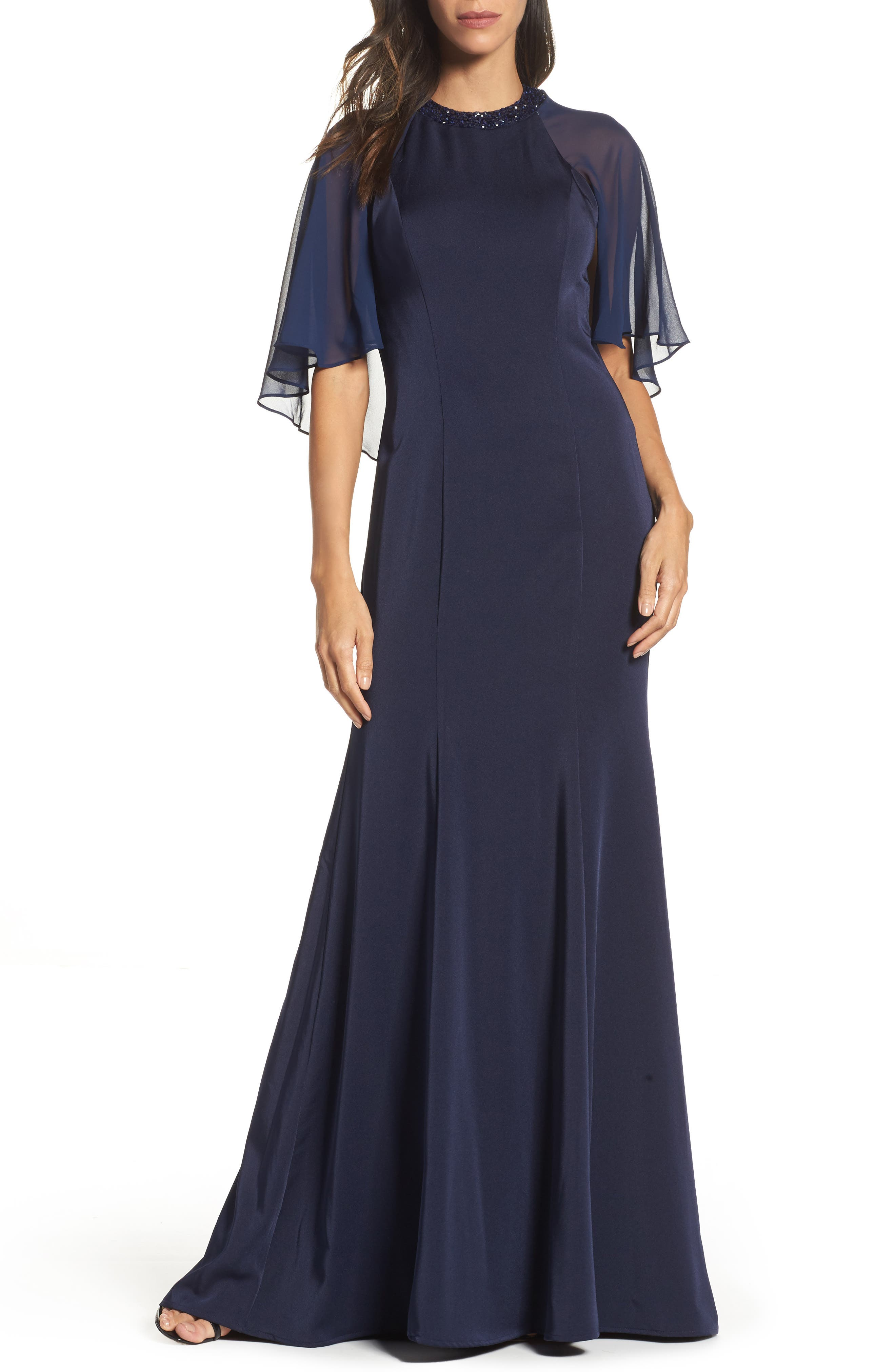 La Femme Cape Illusion Gown, Blue