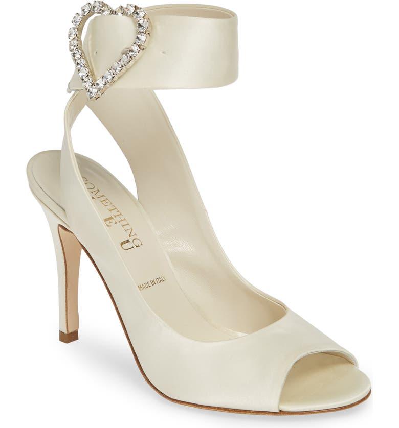 SOMETHING BLEU Heath Embellished Sandal, Main, color, IVORY SATIN