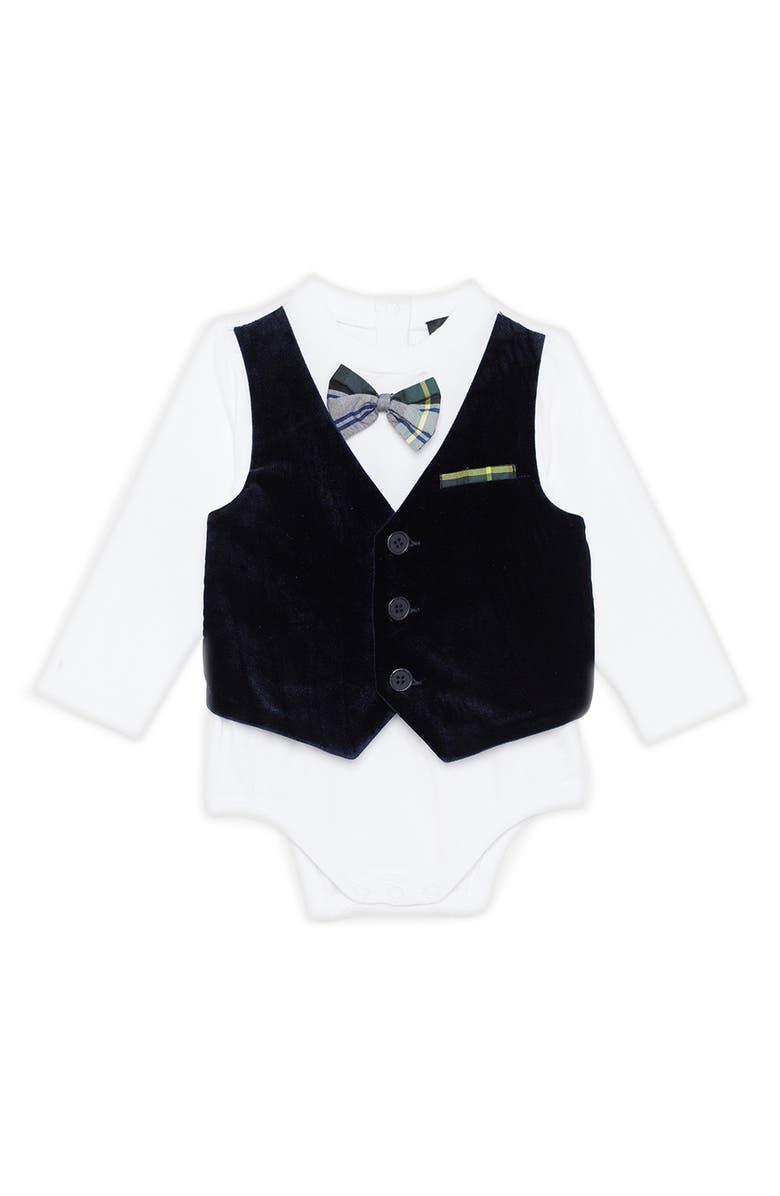 BARDOT JUNIOR Velveteen Vest Bodysuit, Main, color, 410
