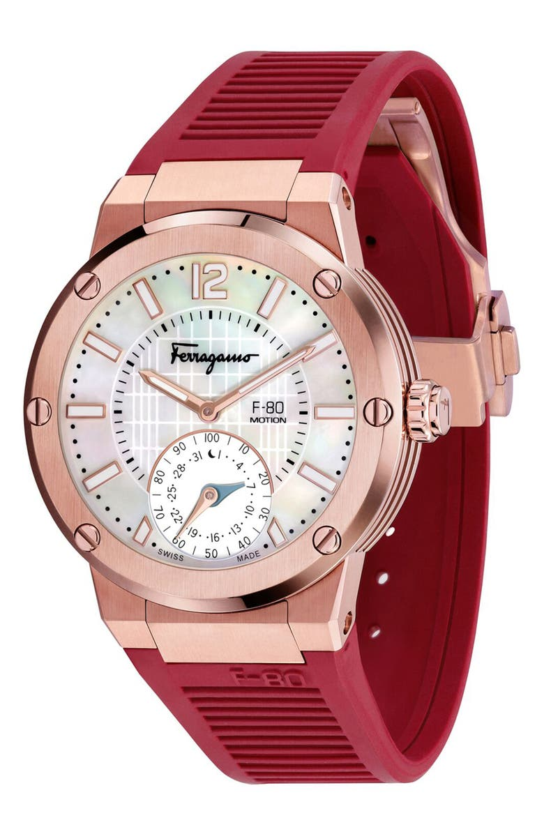 SALVATORE FERRAGAMO F-80 Motion Rubber Strap Smart Watch, 44mm, Main, color, BURGUNDY/ WHITE MOP/ ROSE GOLD