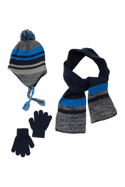 Image of CAPELLI OF NEW YORK Marled & Stripe Earlap Beanie, Scarf, & Gloves Set