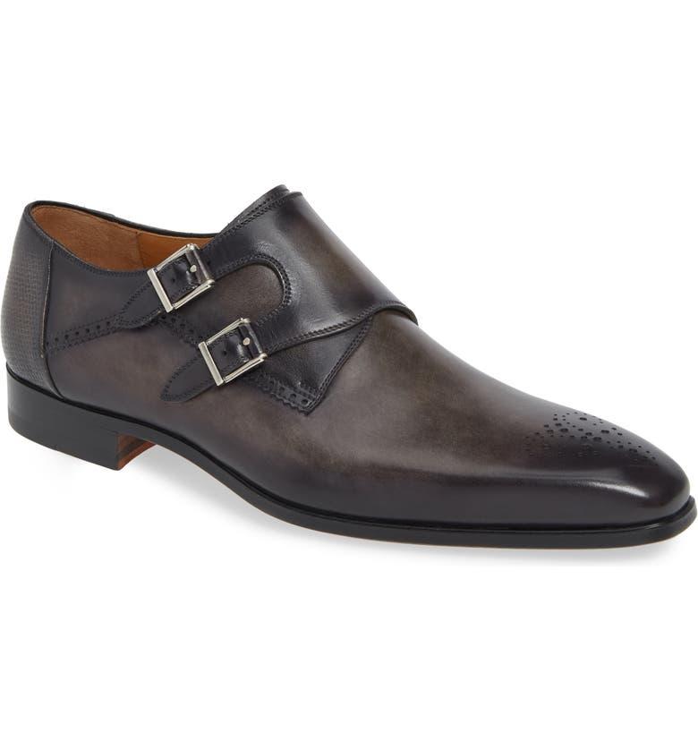 MAGNANNI Derek Double Monk Strap Shoe, Main, color, GREY LEATHER