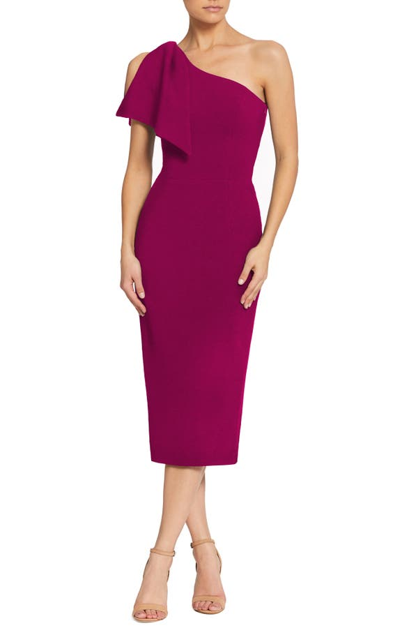 21c23d054727dc Dress The Population Tiffany One-Shoulder Midi Dress In Dark Magenta