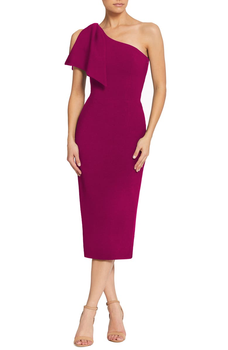 DRESS THE POPULATION Tiffany One-Shoulder Midi Dress, Main, color, DARK MAGENTA