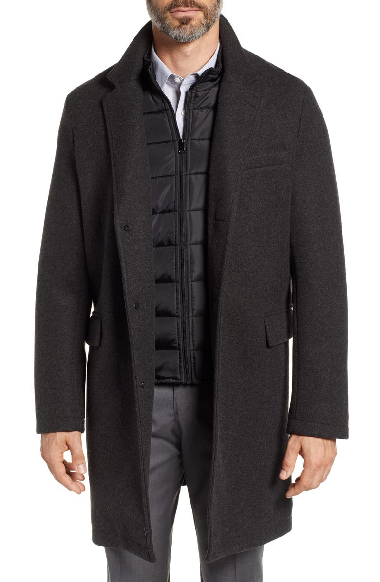 ANDREW MARC Cunningham Quilted Bib Inset Topcoat, Main, color, CHARCOAL