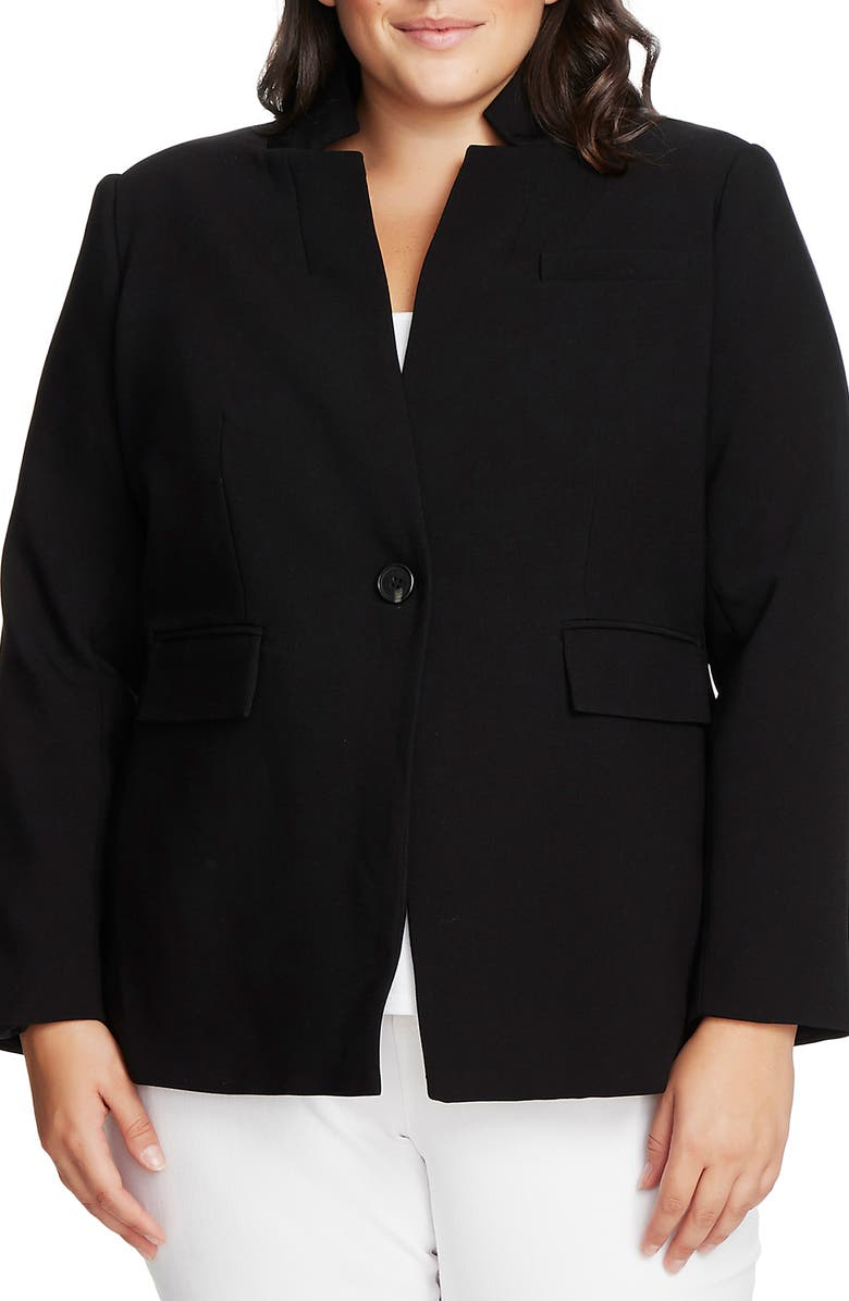 VINCE CAMUTO Convertible Collar Stretch Crepe Blazer, Main, color, RICH BLACK