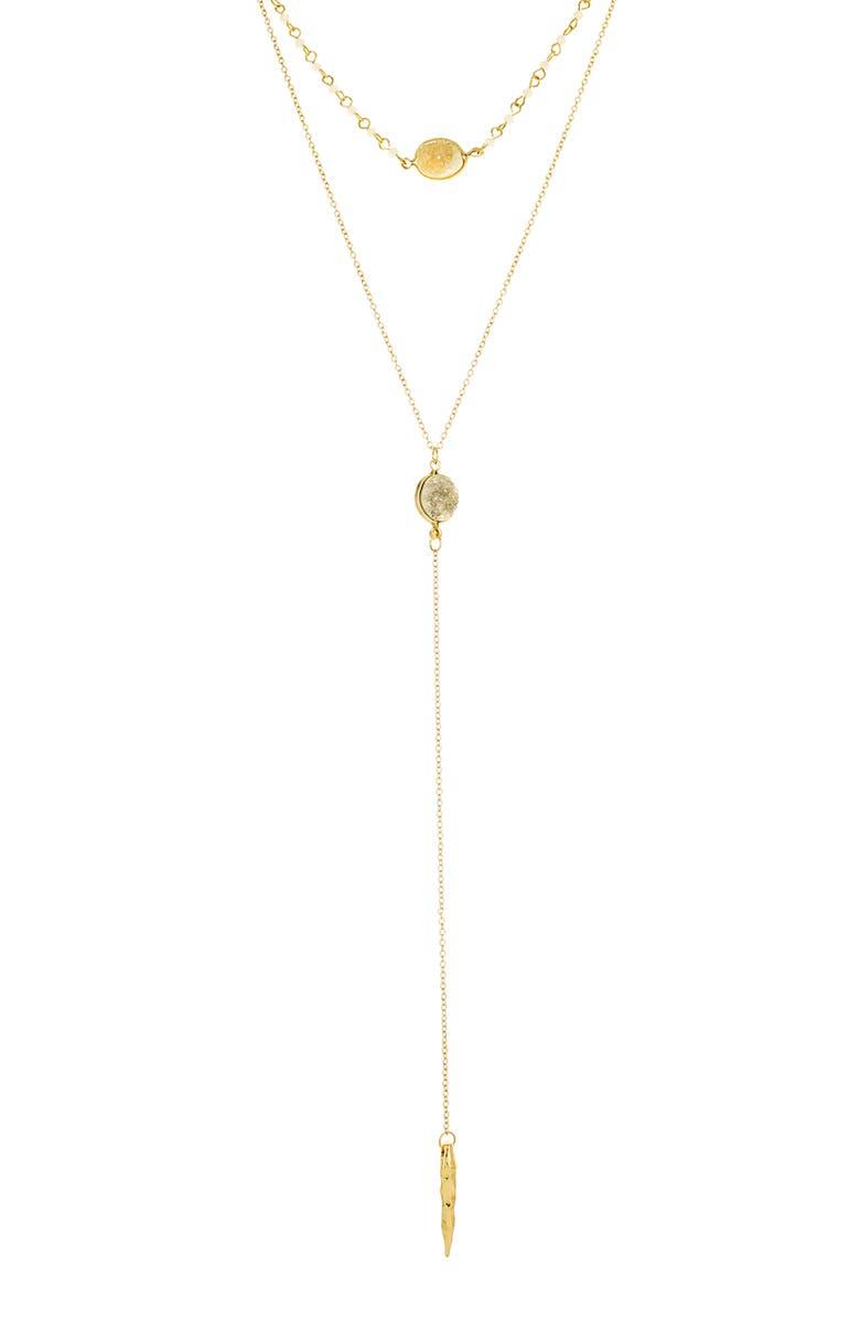 PANACEA Drusy Layered Y-Necklace, Main, color, 710