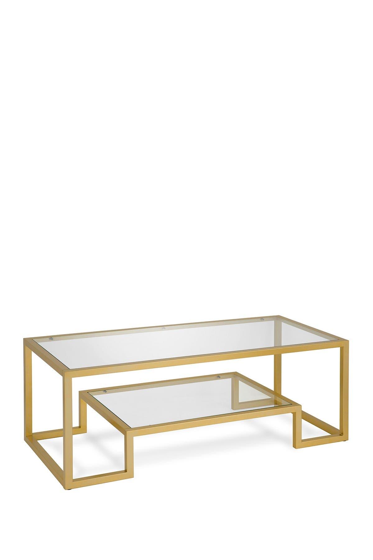 "Image of Addison and Lane Athena 45"" Brass Finish Coffee Table"