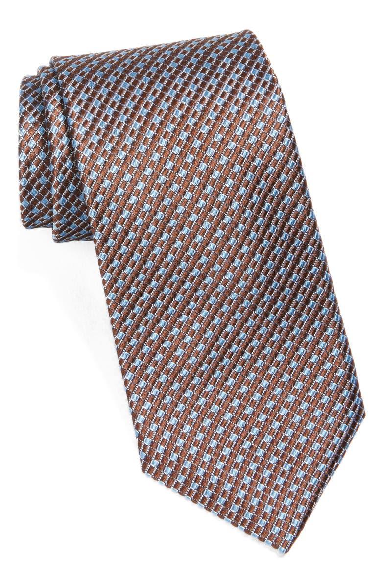 NORDSTROM MEN'S SHOP Check Silk Tie, Main, color, BROWN