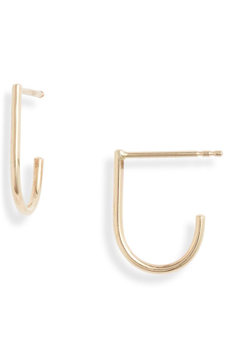 POPPY FINCH Huggie J-Hoop Earrings, Main, color, YELLOW GOLD