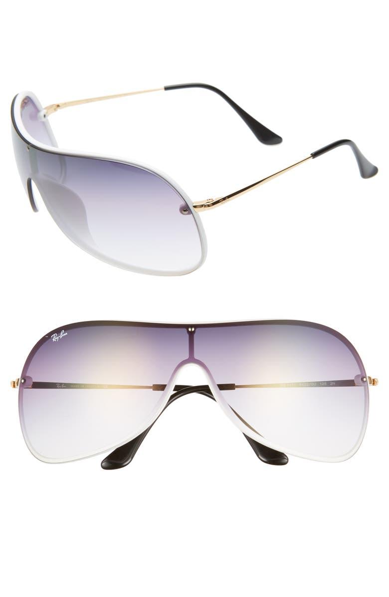 RAY-BAN 141mm Mirrored Shield Sunglasses, Main, color, 400
