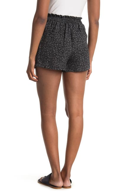 Image of GOOD LUCK GEM Printed Faux Button Front Pleated Shorts