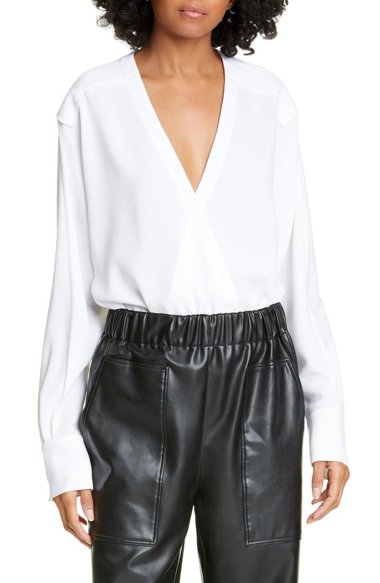 TIBI Savannah Crepe Faux Wrap Bodysuit, Main, color, 100