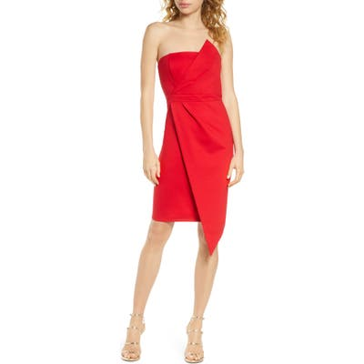 Lulus Queen Of The City Strapless Cocktail Dress, Red