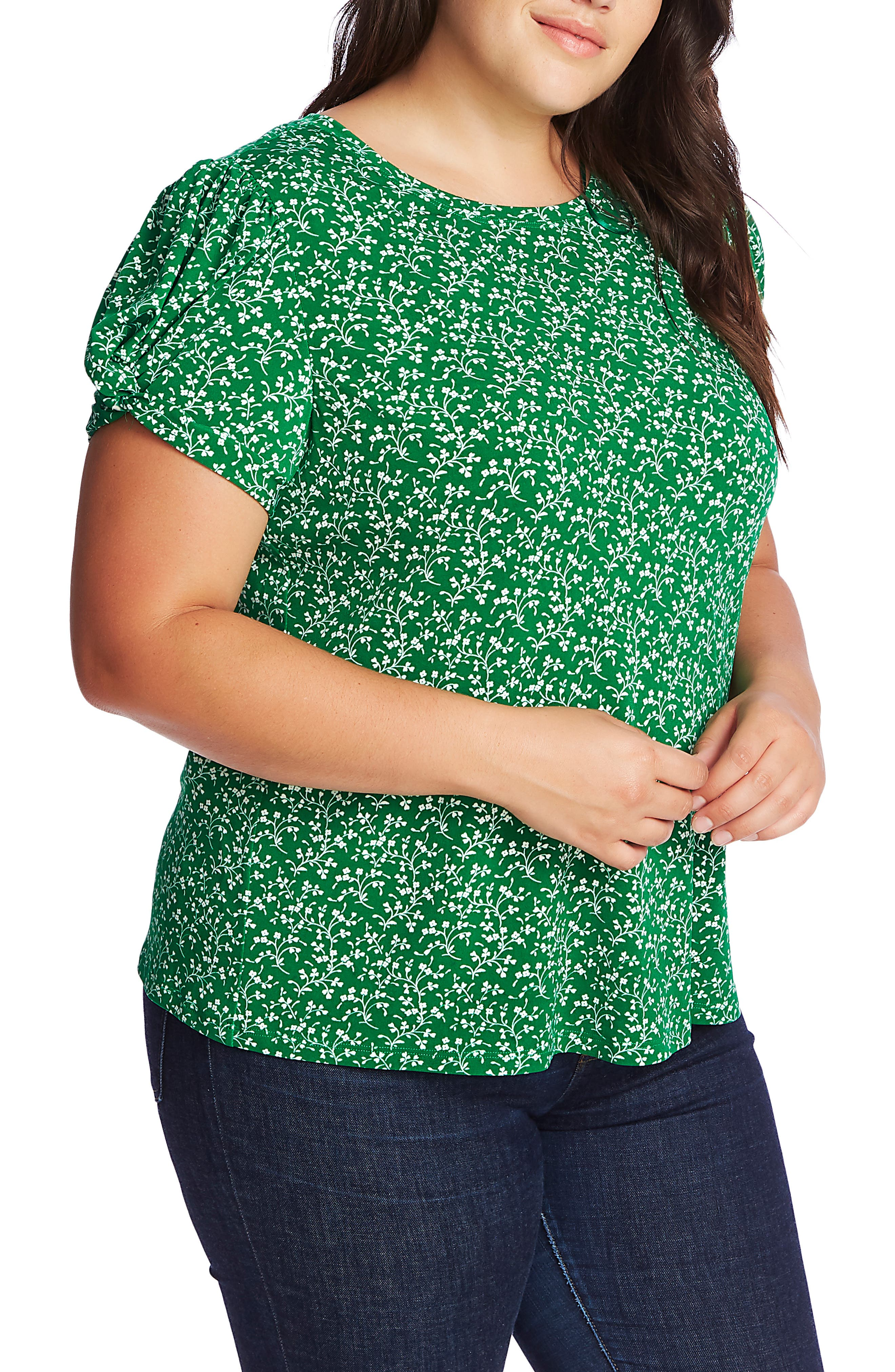 1930s Clothing Plus Size Womens Cece Floral Print Twist Sleeve Top Size 3X - Green $69.00 AT vintagedancer.com