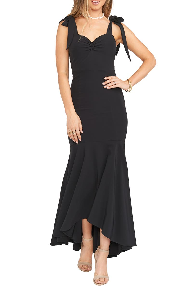 SHOW ME YOUR MUMU Barcelona Tie Strap Crepe Trumpet Gown, Main, color, 001