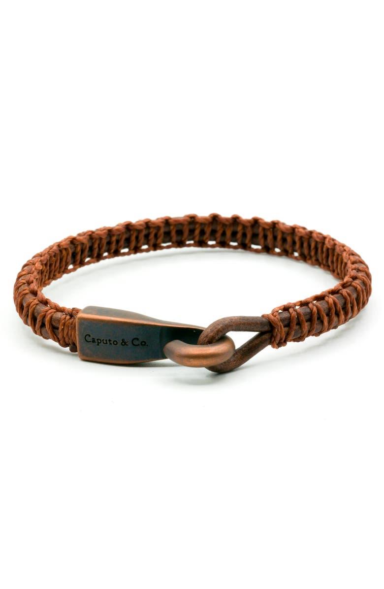 CAPUTO & CO. Woven Leather Bracelet, Main, color, 205