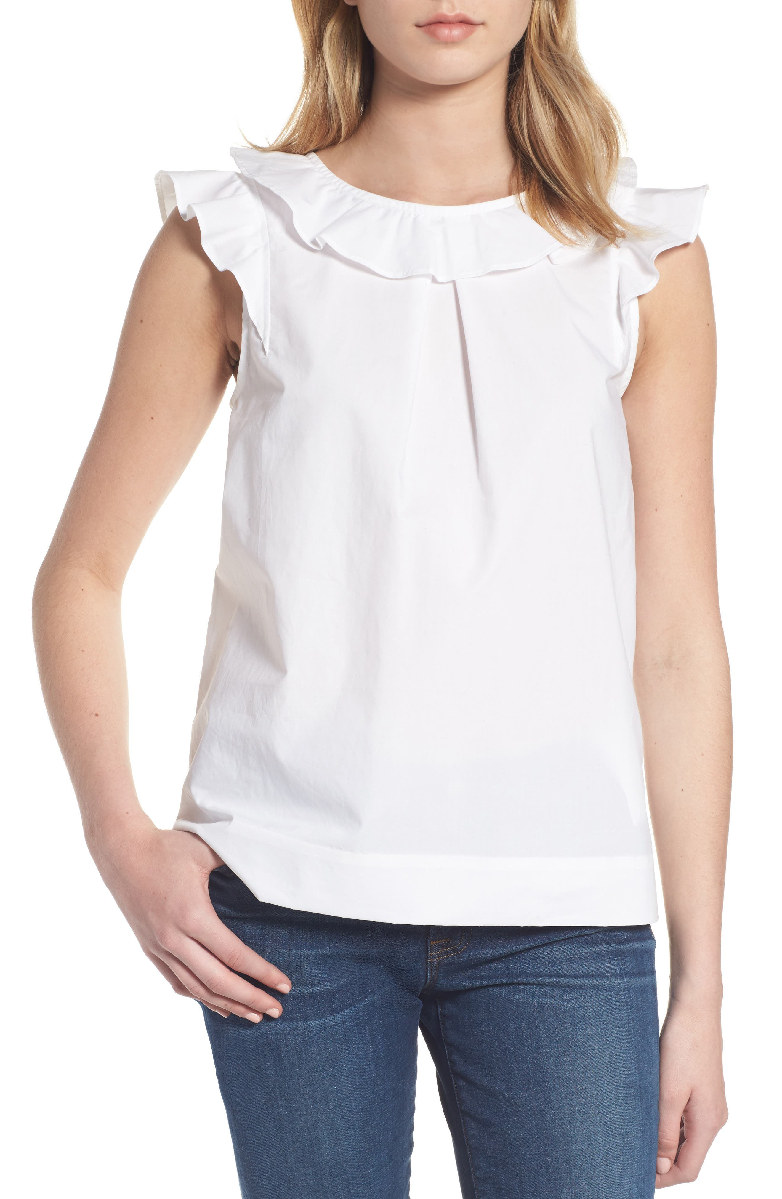 Ruffle Cotton Poplin Top, Main, color, 100