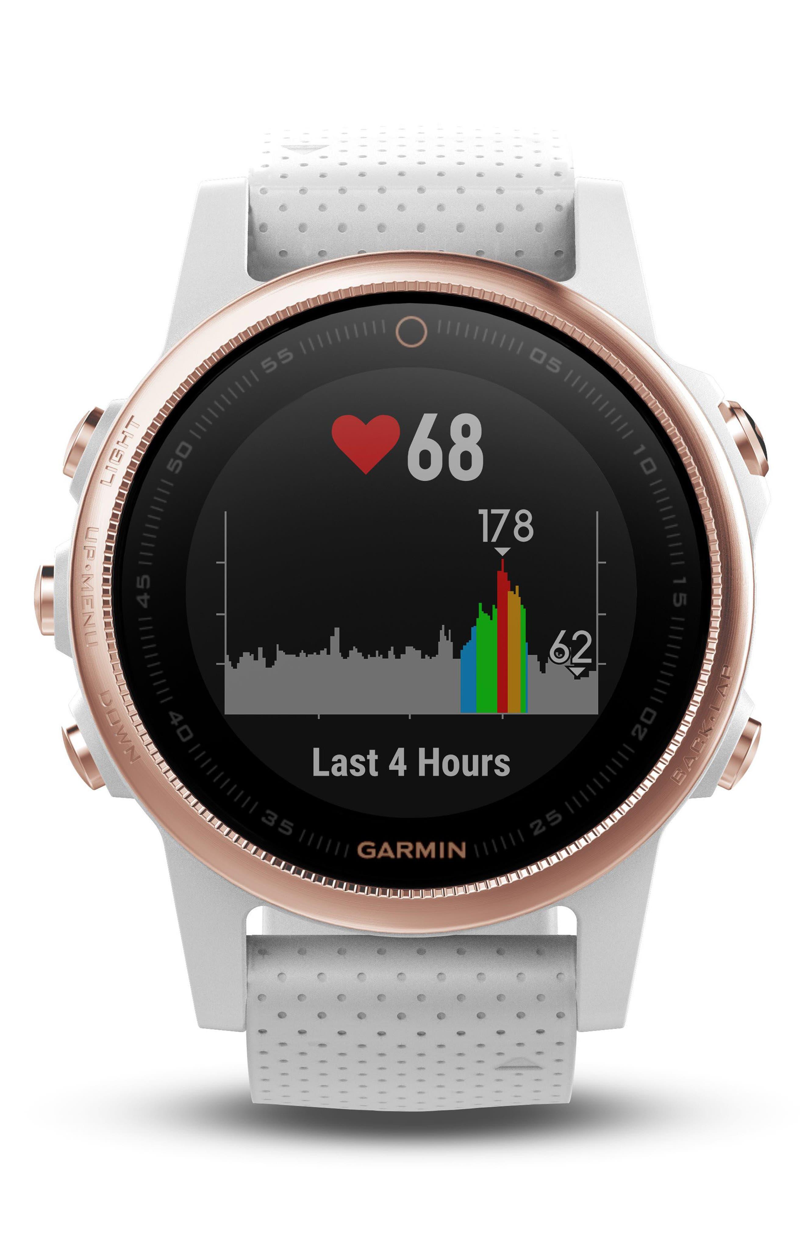 ,                             fenix<sup>®</sup> 5S Sapphire Premium Multisport GPS Watch, 42mm,                             Alternate thumbnail 3, color,                             WHITE/ ROSE GOLD SAPPHIRE
