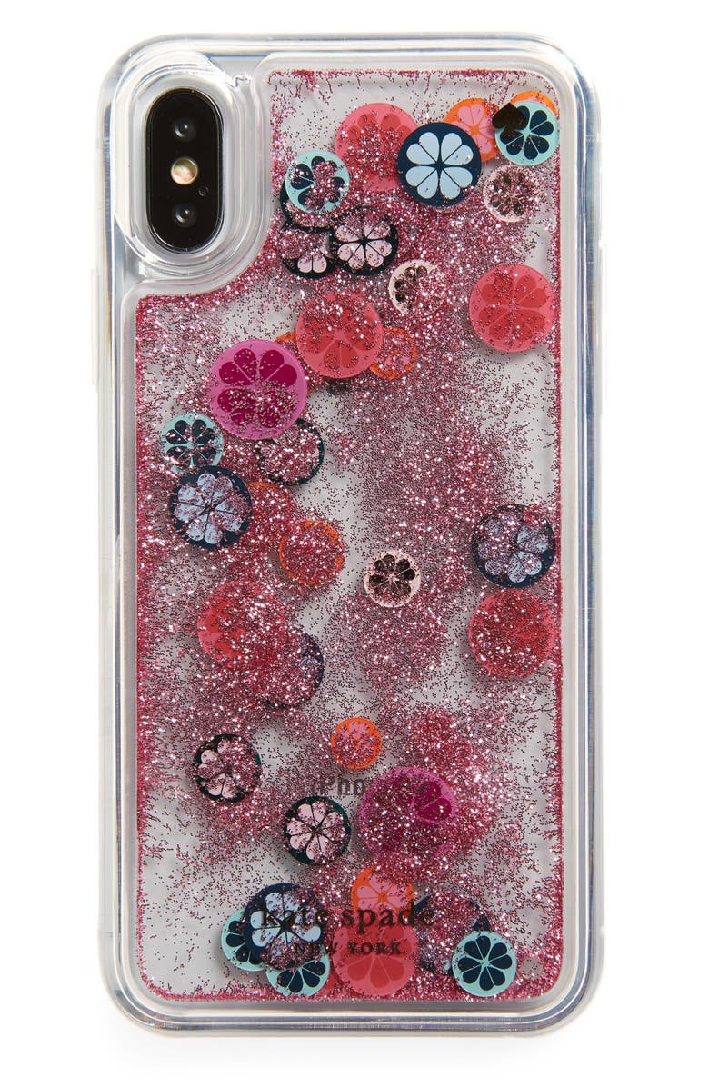 KATE SPADE NEW YORK spade flower liquid glitter iPhone X/Xs case, Main, color, 650