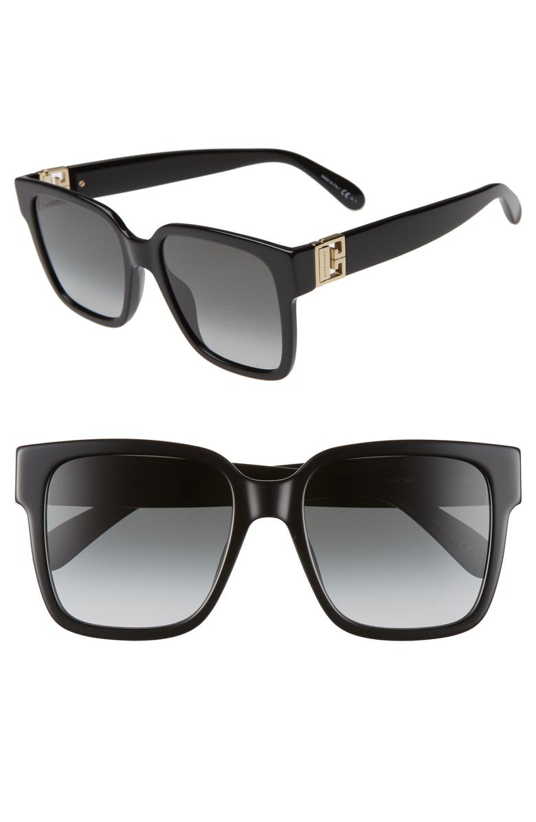 GIVENCHY 53mm Square Sunglasses, Main, color, 001