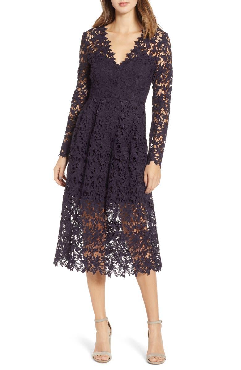 ASTR THE LABEL Lace Midi Dress, Main, color, EGGPLANT