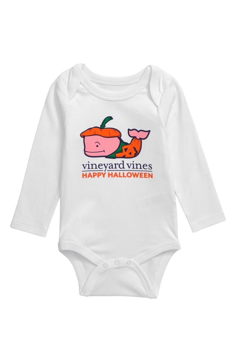 VINEYARD VINES Pumpkins Whale Bodysuit, Main, color, WHITE CAP