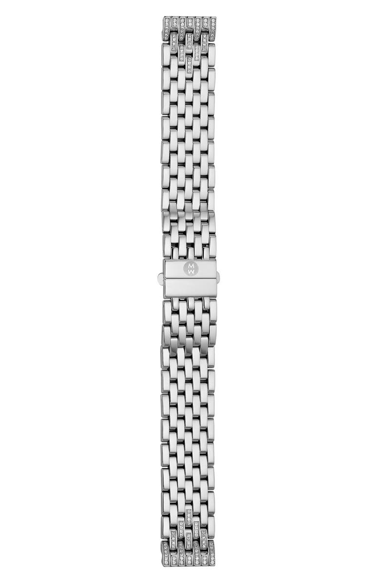MICHELE Deco 16 16mm Diamond Bracelet Watchband, Main, color, SILVER