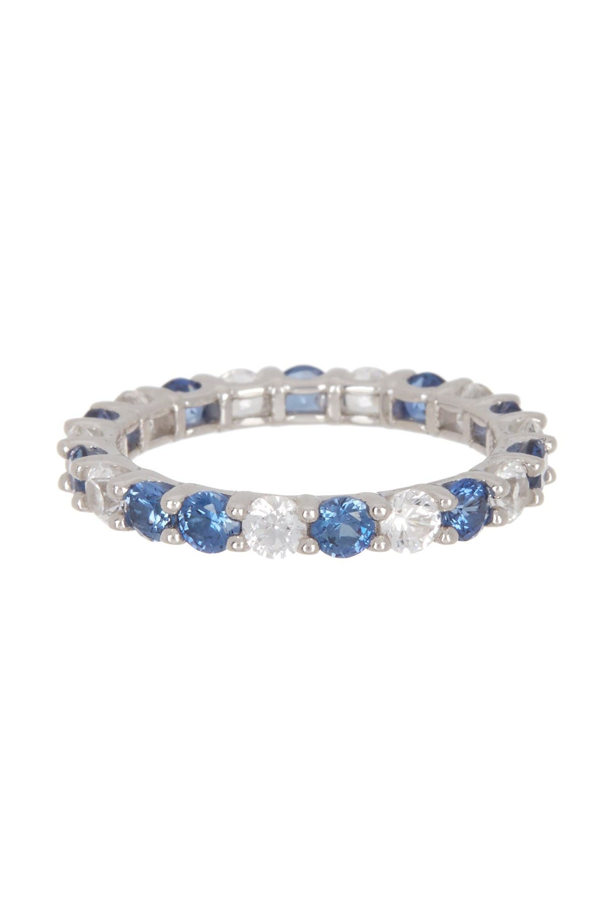 Image of Suzy Levian Sterling Silver Round Sapphire & Diamond Accent Band