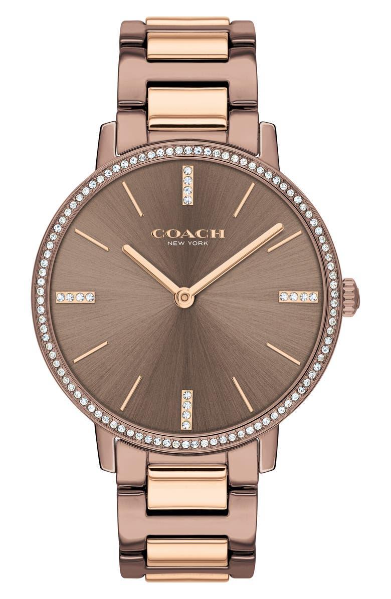 COACH Audrey Bracelet Watch, 35mm, Main, color, COFFEE/ SILVER